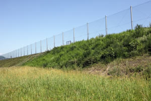 metal wire fence with blue sky in background